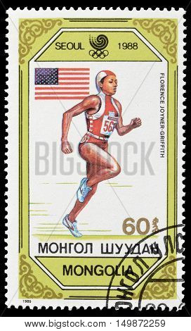 MONGOLIA - CIRCA 1989 : Cancelled postage stamp printed by Mongolia, that shows Florence Joyner Griffith.