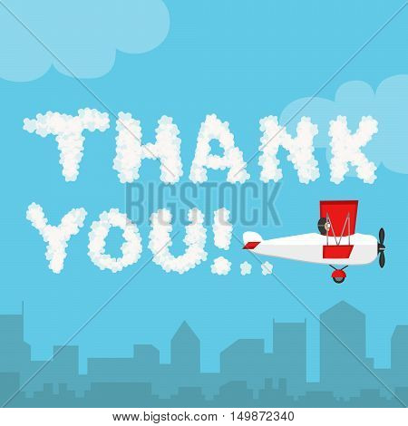 Thank you in the sky concept. Vector illustration of cloud alphabet isolated on a blue sky and city landscape background. Weather text heaven and flat airplane. Thanks concept