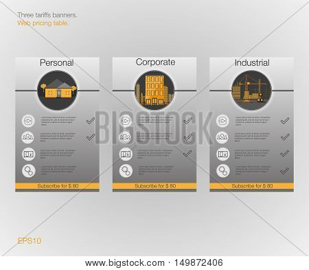 Three banner for the tariffs and price lists. Web elements. Plan hosting. Vector design for web app. Plan for website in flat design.