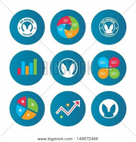 Business pie chart. Growth curve. Presentation buttons. No animals testing icons. Non-human experiments signs symbols. Data analysis. Vector