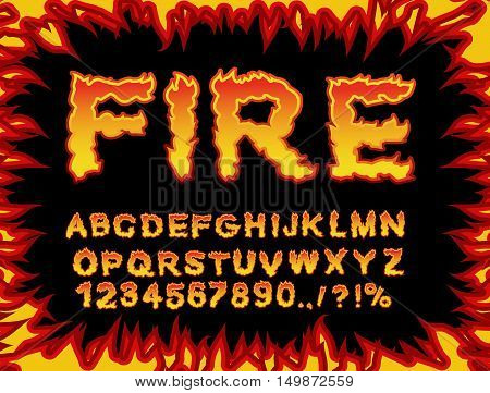 Fire font. Flame Alphabet. Fiery letters. Burning ABC. Hot typography. blaze lettring poster