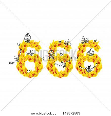 666 Number Of Devil. Fire Numeric. Skeletons In Inferno. Sinners In Hell. Satanic Symbol. Hellish Th