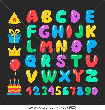 Happy birthday cartoon alphabet set. Air balloons font. Birthday icon set. Flat vector elements figures and letters for celebration design. Isolated on black background