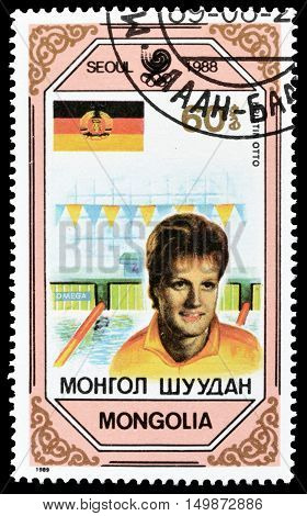 MONGOLIA - CIRCA 1989 : Cancelled postage stamp printed by Mongolia, that shows Kristin Otto.