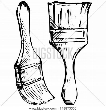 Paint brush. Isolated on white background. Vector doodle style