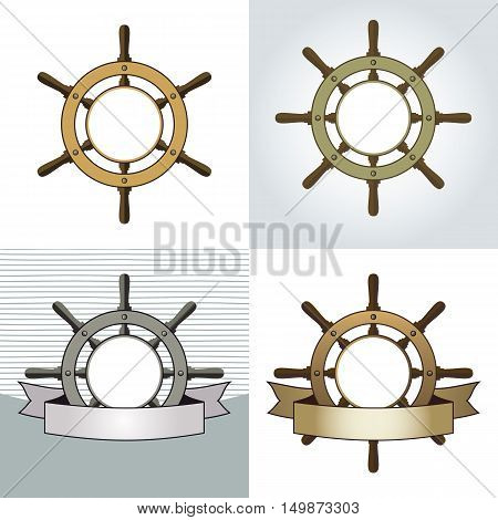 Set of four ship helm vector backgrounds. Shipboard steering wheel with blank banner and space for your text. Vector eps8 illustration.