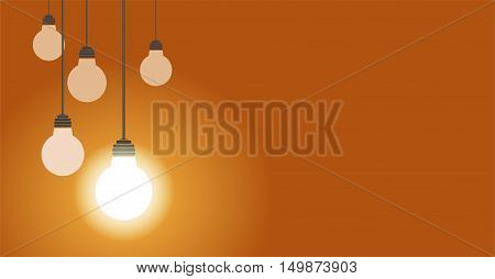 Hanging light bulbs one of them glow, vector illustration on yellow background with copy space.
