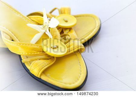 a pair of flip-flops on the sand on a white background poster