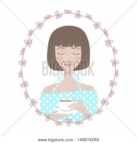 Female Character in oval round floral frame. Young woman girl in blue dress enjoys her cup of tea. Avatar for blogger.