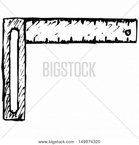 Setsquare symbol. Isolated on white background. Vector doodle style