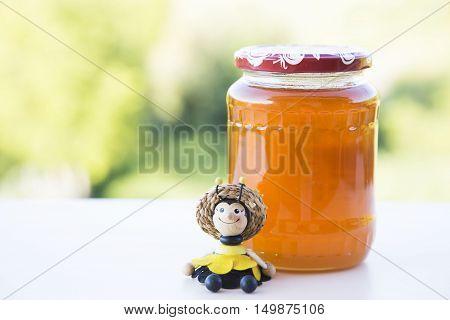 honey jar, sugar free healt concept , bee doll
