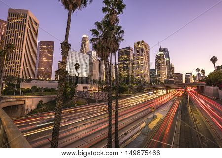 Downtown Los Angeles at sunset with light trails