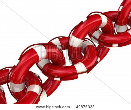 Chain of lifebuoys. Chain collected from lifebuoys. Isolated. 3D Illustration