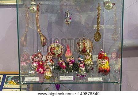 KLIN RUSSIA - JANUARY 16 2016: Christmas toys in the form of matrioshka. Museum of Christmas toys.