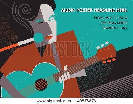 Unusual guitar player poster, ideal for music gig announcements