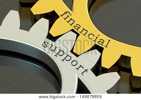 Financial Support concept on the gearwheels 3D rendering