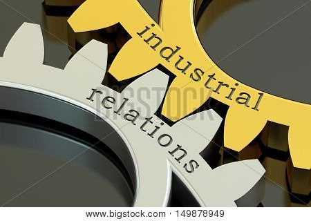 Industrial Relations concept on the gearwheels 3D rendering