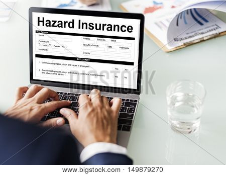 Hazard Insurance Property Protection Terms Concept