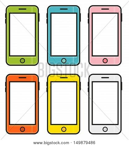 Set of 6 colorful cartoon smart phones mobile phones isolated on white background