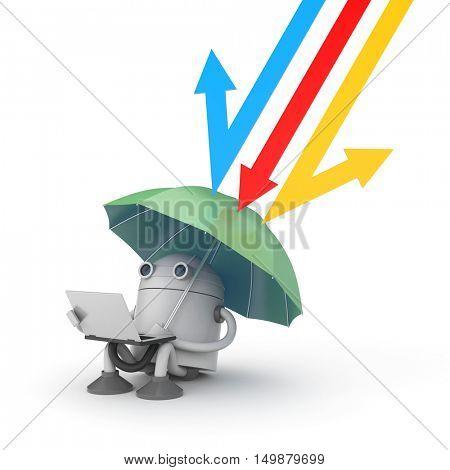 Data Under protection - metaphor. 3d illustration
