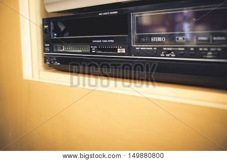 vhs player and recorder retro background videotape