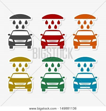 Car wash icons set on gray background