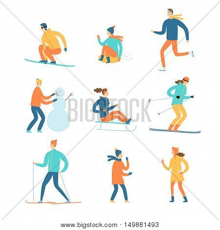 Winter activities cartoon set. Including ice skater snowboarder skier playing children. Isolated elements. Winter sport illustration for your design.