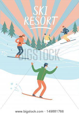 Ski resort vintage poster. Skiers and snowboarders set. Winter illustration for your design.