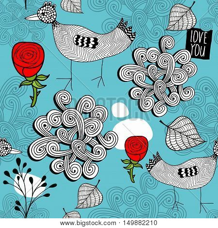 Seamless pattern of winter time. Vector illustration with birds and red roses on the blue background.