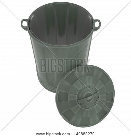 A 3d render of a green plastic garbage can with the lid off.
