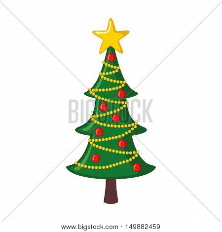 Christmas tree icon in flat style isolated on white background. Vector illustration.