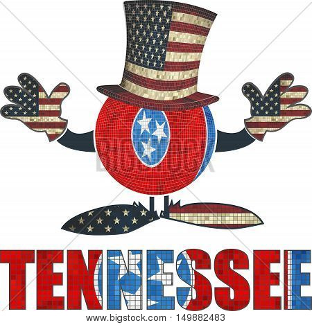 Tennessee ball with American hat and hands - Illustration,  Brick ball with Tennessee flag,  Font with the Tennessee flag,  Brick Tennessee ball with USA flag