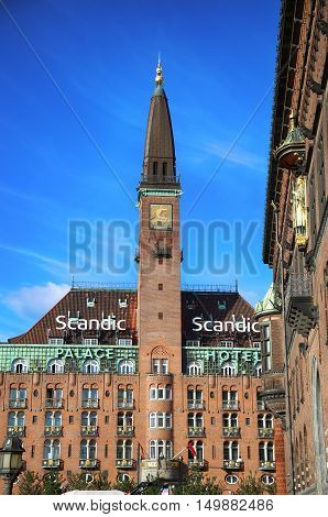 COPENHAGEN DENMARK - AUGUST 15 2016: Scandic Palace Hotel is a residential hotel on City Hall Square(The hotel was built by Anders Jensen from 1909. ) in Copenhagen Denmark on August 15 2016.