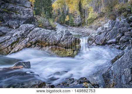 Crystal River at Crystal Mill near Marble in Colorado Rocky Mountains, fall scenery