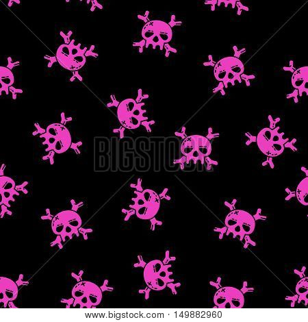 Emo seamless pattern. Vector pink skulls and bones on black background.