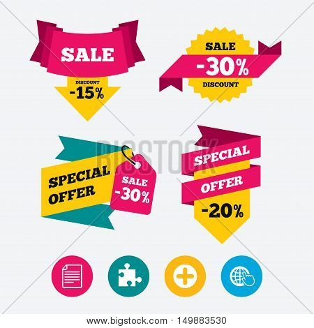 Plus add circle and puzzle piece icons. Document file and globe with hand pointer sign symbols. Web stickers, banners and labels. Sale discount tags. Special offer signs. Vector