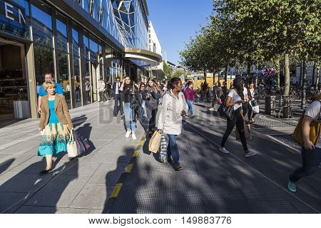 People Walk Along The Zeil In Midday In Frankfurt, Germany