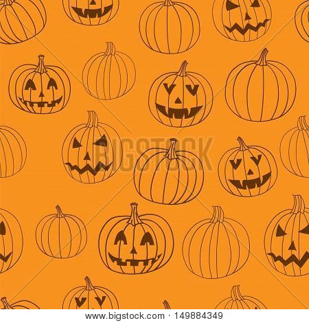 Halloween vector textile print seamless pattern with jack-o-lantern pumpkin on white background. Halloween illustration.