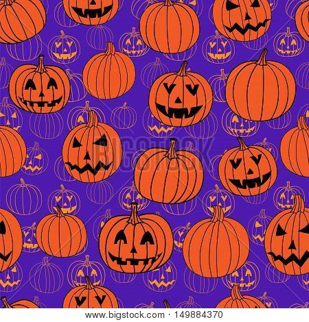 Purple and orange halloween vector textile print seamless pattern with jack-o-lantern pumpkin. Halloween background.