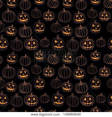 Black halloween seamless vector pattern with jack-o-lantern pumpkin.