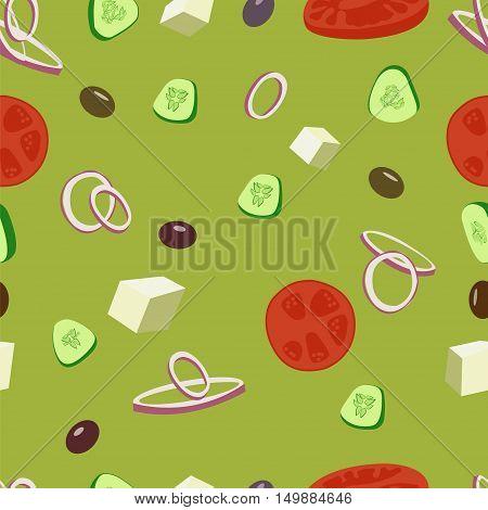 Greek salad vector seamless pattern. Greek olive, tomatoes, cucumbers, onion salad background illustration.