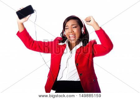 Business Woman Jamming Listening To Music