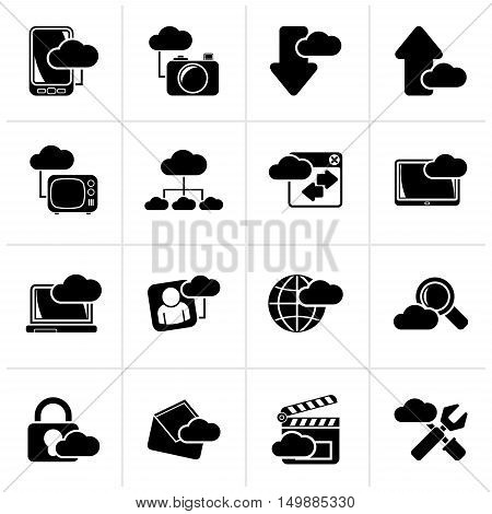 Black cloud services and objects icons - vector icon set
