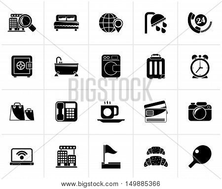 Black Hotel and motel services icons 1- vector icon set