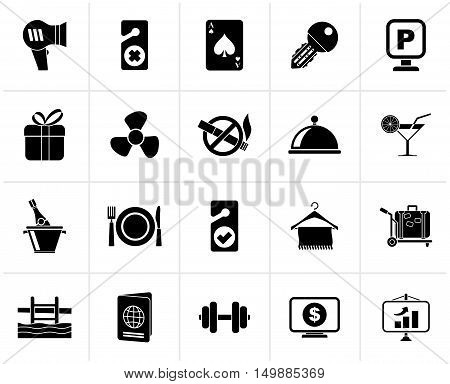 Black Hotel and motel services icons 2- vector icon set