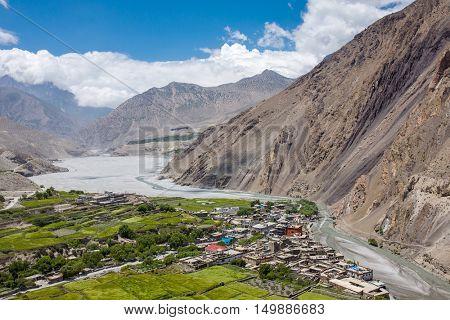 View on the Kagbeni village in the Himalayas, Nepal. Annapurna cirkut trek. poster