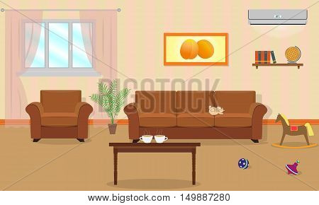 Living room interior in orange colors including a sofa armchair coffee table air conditioning toys. Vector illustration in a flat style.