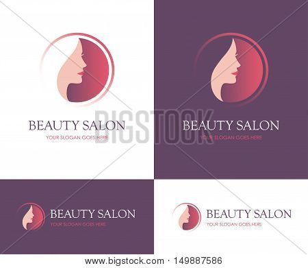 Round logo for beauty salon face and skin care product cosmetics makeup or spa center with beautiful woman profile