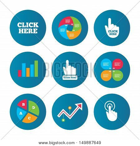 Business pie chart. Growth curve. Presentation buttons. Click here icons. Hand cursor signs. Press here symbols. Data analysis. Vector