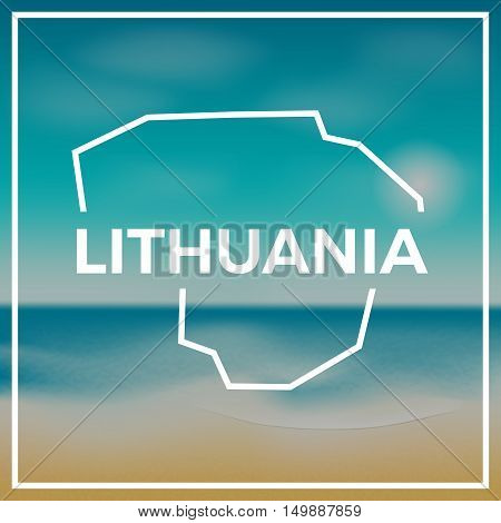 Lithuania Map Rough Outline Against The Backdrop Of Beach And Tropical Sea With Bright Sun.